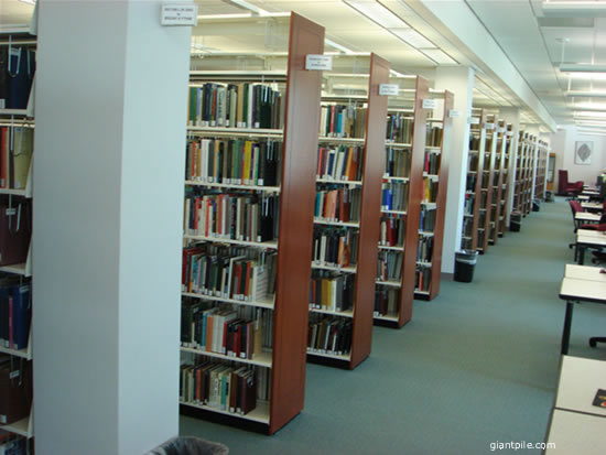 A university library showing number of aisles