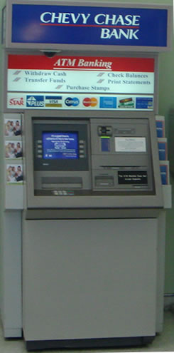 An ATM machine providing ATM banking solutions.